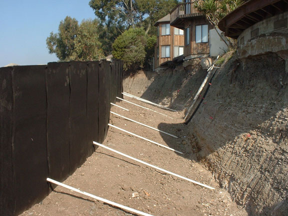 Retaining Wall And Tiebacks Ready For Final Backfill